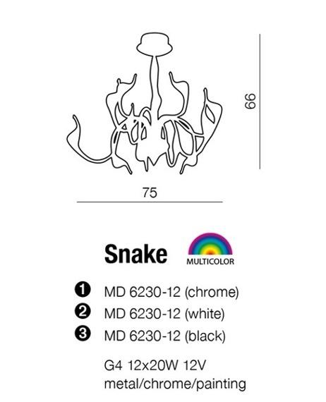 AZZARDO Snake MD 6230-12 Chrom Lampa Wisząca