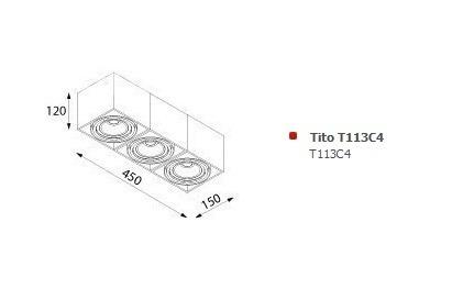 Tito T113C4 Plafon Cleoni czarny mat struktura
